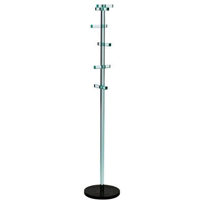 Furniture - Coat Racks & Pegs - Telegrafo Portemanteau sur pied by Glas Italia - Transparent & Black raw Iron base - Glass, Iron