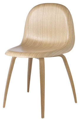 Arredamento - Sedie  - Sedia 3D di Gubi - Guscio quercia / Base quercia - Compensato di rovere, Rovere massello