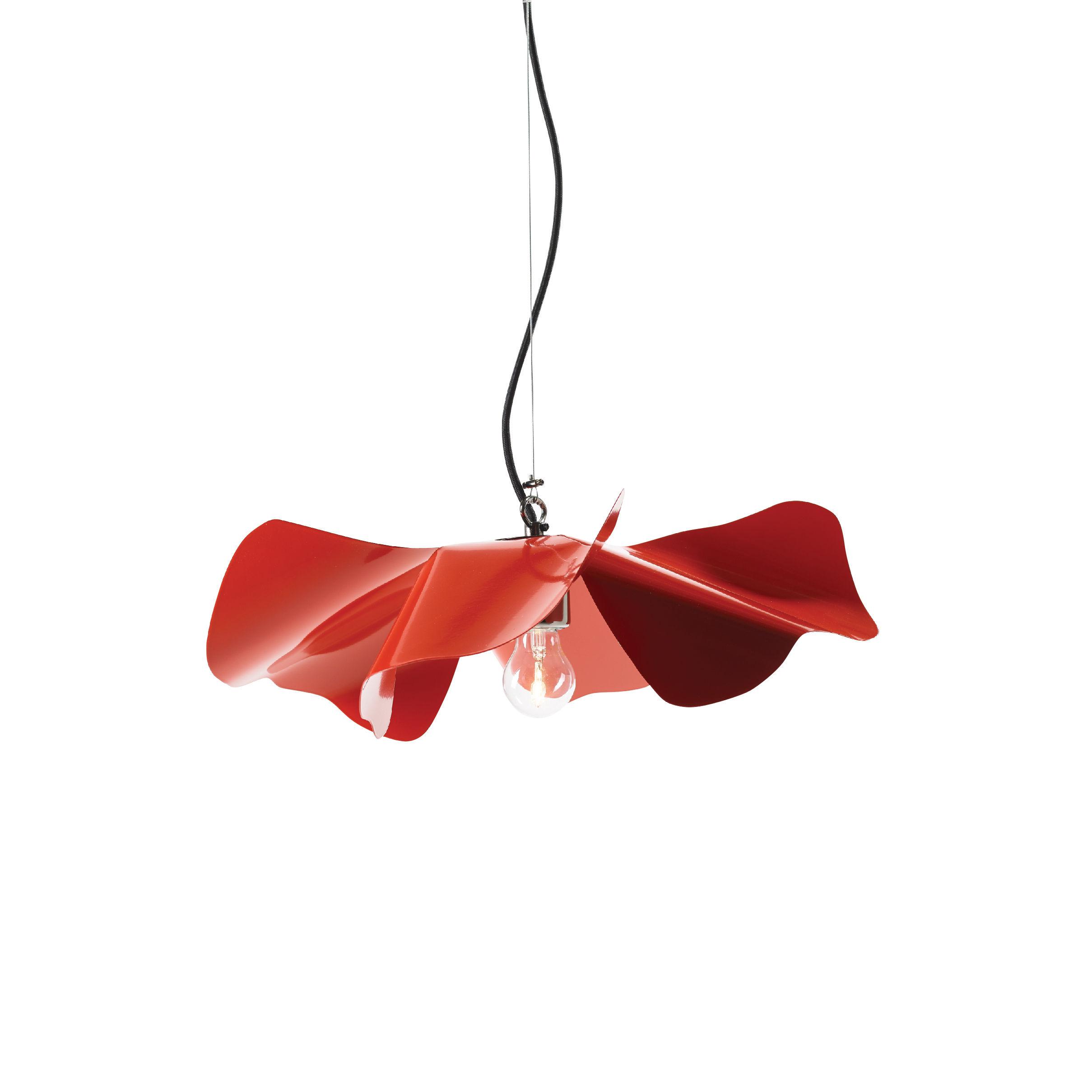 Illuminazione - Lampadari - Sospensione Papavero Small - / Ø 45 cm- Acciaio di Opinion Ciatti - Rosso - Acciaio inossidabile, Tessuto
