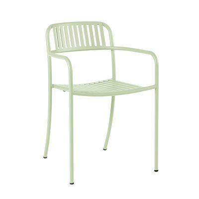 Furniture - Chairs - Patio Lames Stackable armchair - / Slats - Steel by Tolix - Aniseed green - Stainless steel