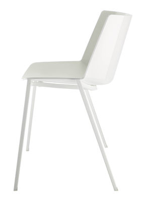 Furniture - Chairs - Aïku Stacking chair - / Metal square legs by MDF Italia - White & light grey inside / White legs - Painted steel, Polypropylene