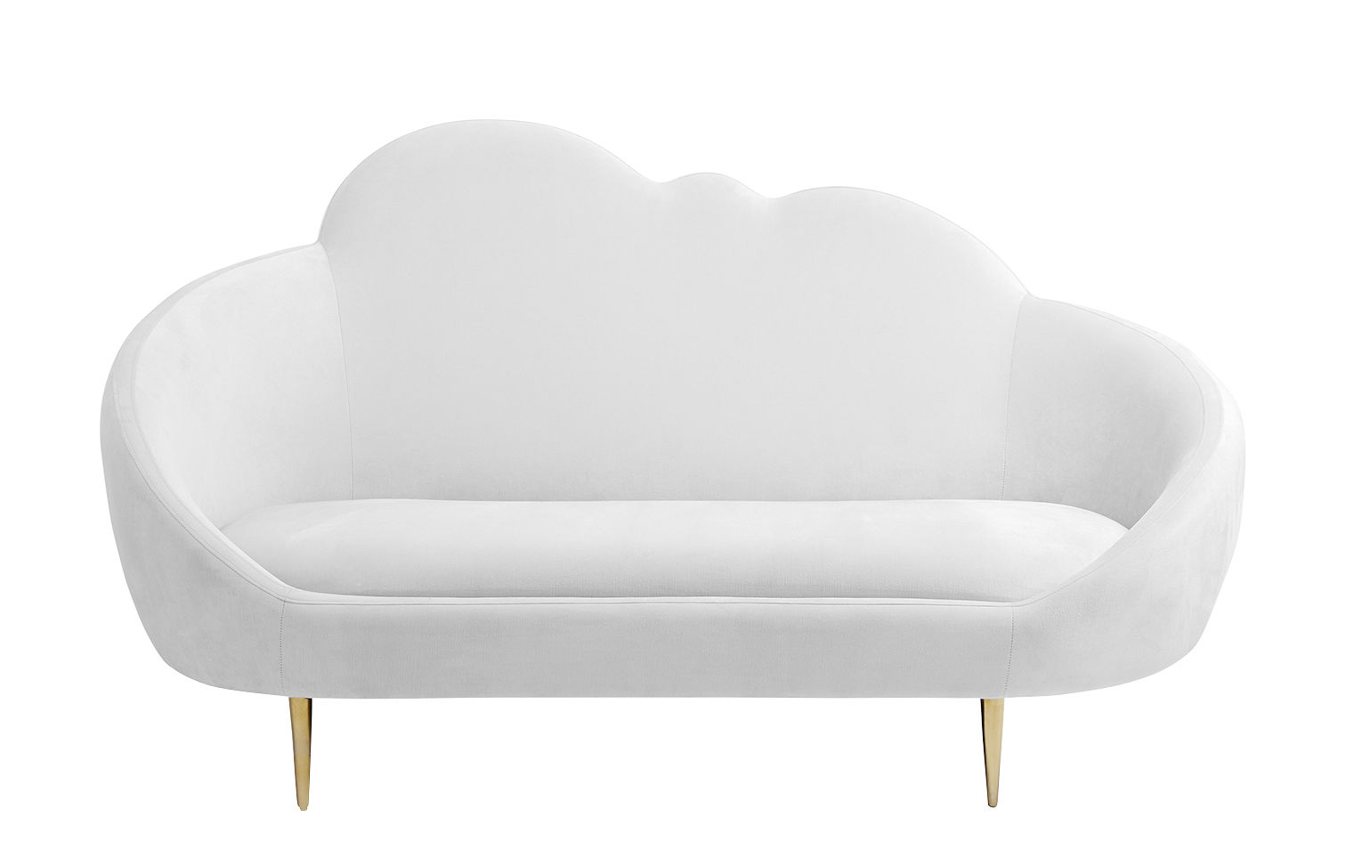 Furniture - Sofas - Ether Settee Straight sofa - / Velvet & brass - L 176 cm by Jonathan Adler - White / Brass - Foam, Polished brass, Velvet
