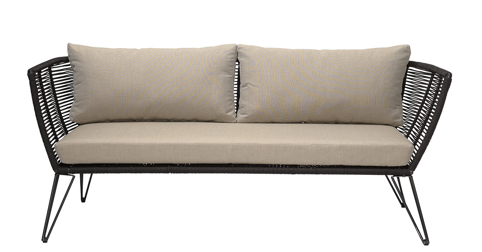 Furniture - Sofas - Mundo Straight sofa - / L 175 cm - Indoors & outdoors by Bloomingville - Taupe & black - Fabric, Fibre, Lacquered steel, Polyester, PVC wire