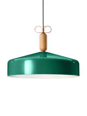 Luminaire - Suspensions - Suspension Bon Ton / Ø 45 cm - Exclusivité - Torremato - Vert brillant / Blanc - Aluminium verni, Chêne