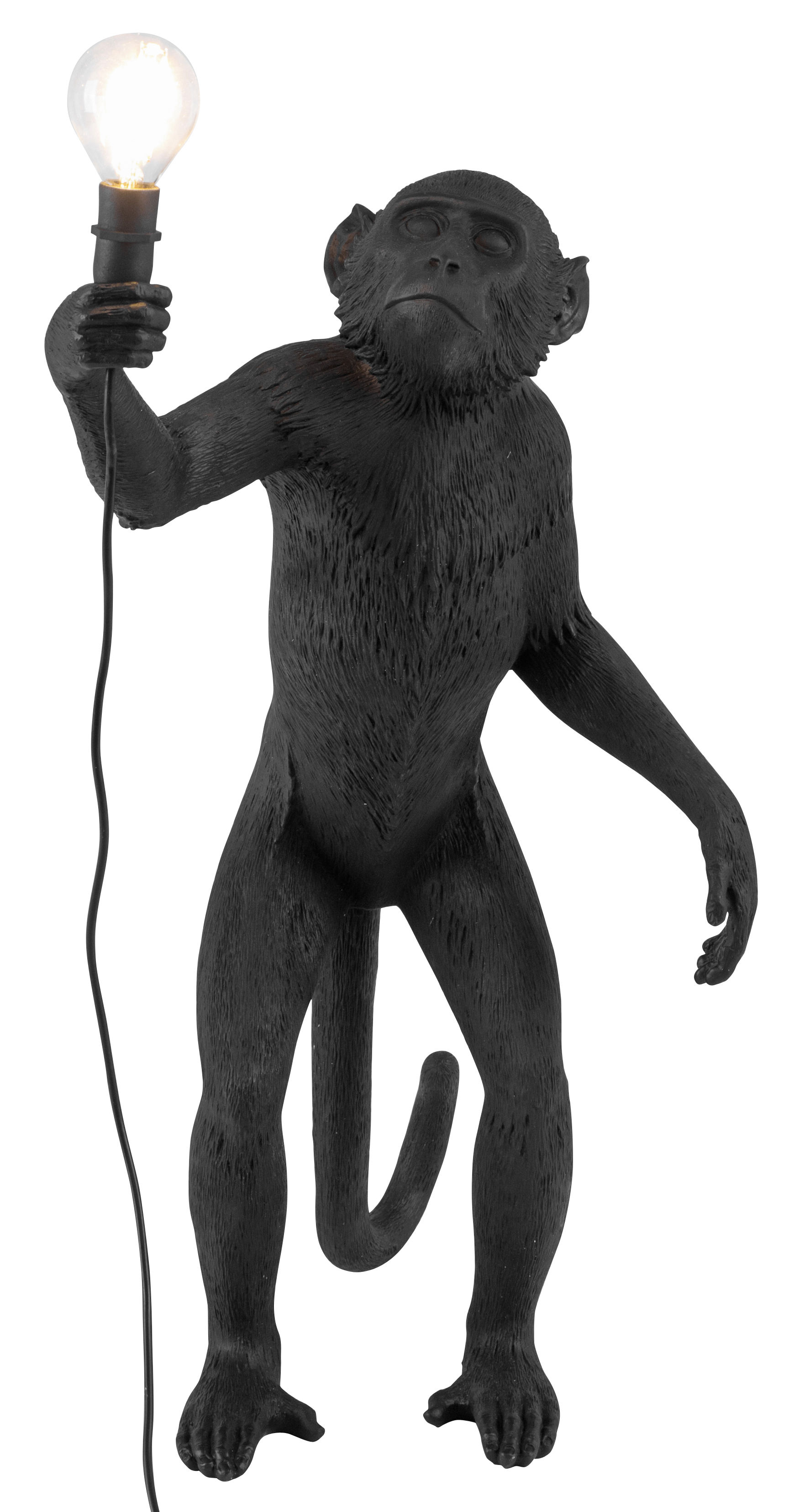 Lighting - Table Lamps - Monkey Standing Table lamp - Outdoor / H 54 cm by Seletti - Black - Resin