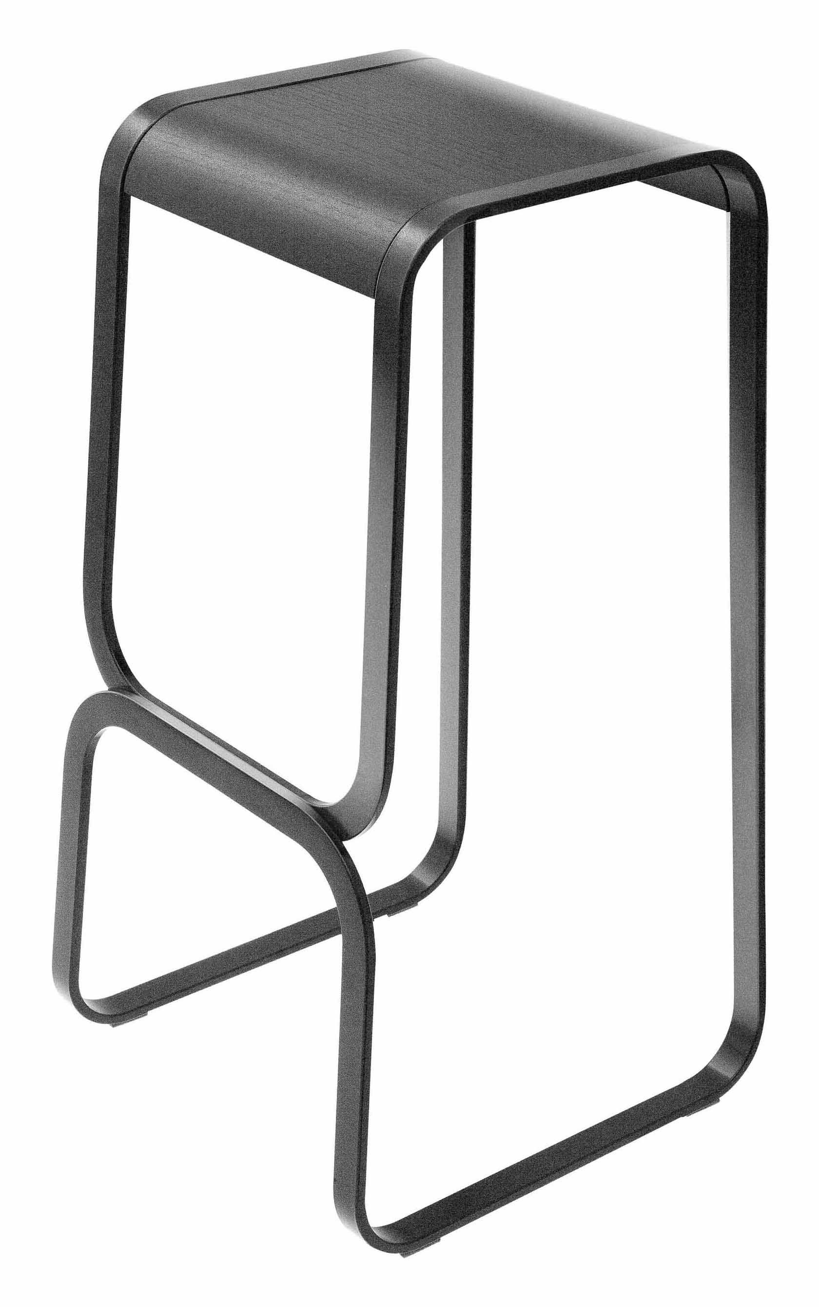 Mobilier - Tabourets de bar - Tabouret de bar Continuum / Bois & métal - H 80 cm - Lapalma - Assise : noire / Structure : noire - Acier inoxydable laqué, Multiplis de bois teinté