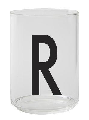 Verre Arne Jacobsen / Verre borosilicaté - Lettre R - Design Letters transparent en verre
