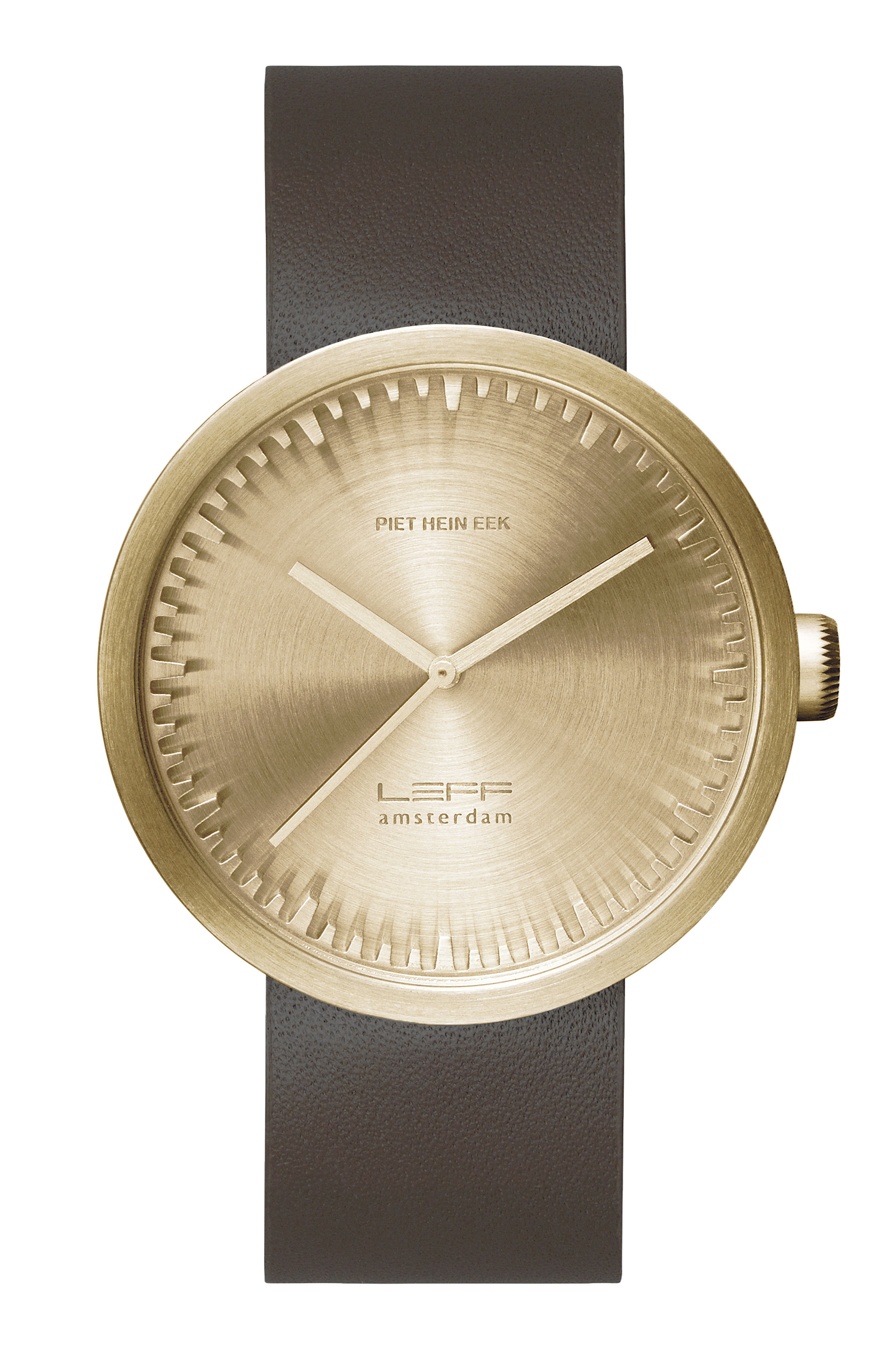 Accessories - Watches - D42 Watch - Leather wristband by LEFF amsterdam - Brass, brown - 316L brushed stainless steel, Glass, Leather