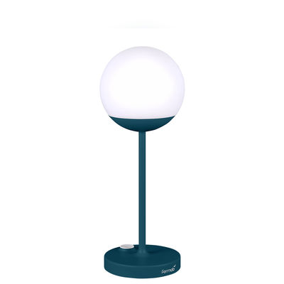 Lighting - Table Lamps - Mooon! LED Wireless lamp - / H 41 cm - USB charging by Fermob - Acapulco blue - Aluminium, Polythene