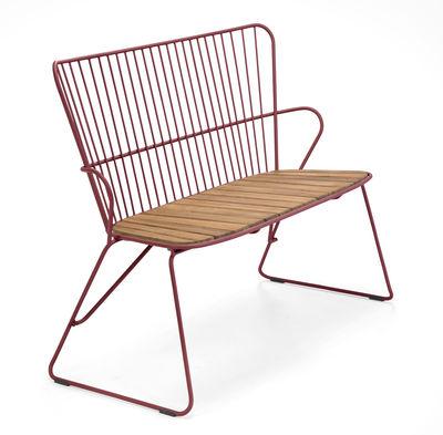 Banc Paon / L 116 cm - Métal & bambou - Houe rose/orange/bois naturel en métal/bois