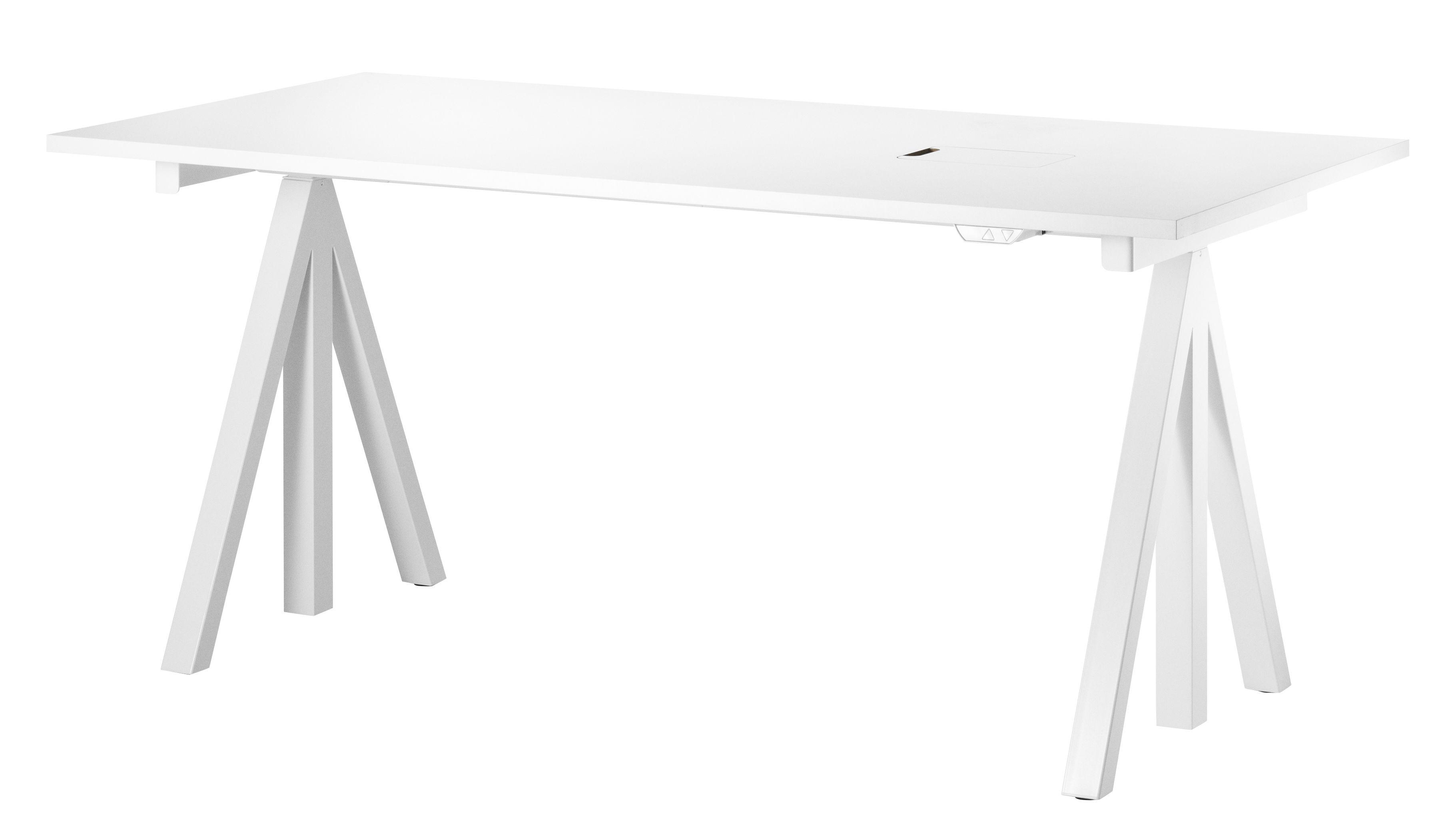 Arredamento - Mobili da ufficio - Base String Works per scrivania / Motorizzata - String Furniture - Bianco - Acciaio laccato