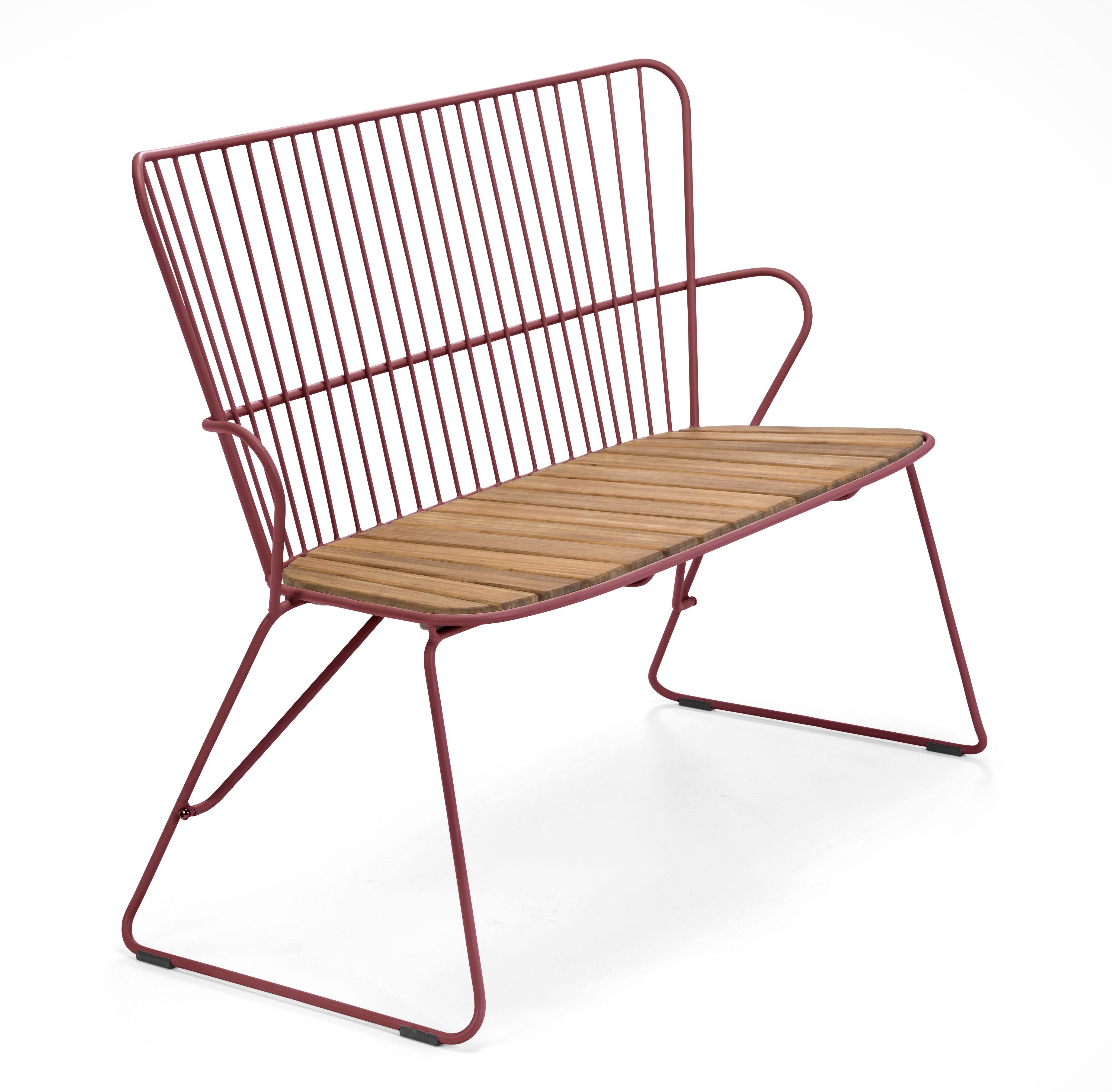 Furniture - Benches - Paon Bench - / L 116 cm - Metal & bamboo by Houe - Bench / Paprika - Acier revêtement poudre, Bamboo