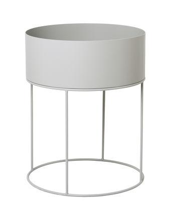 Dekoration - Töpfe und Pflanzen - Plant Box Round Blumenkasten / Ø 40 cm x H 50 cm - Ferm Living - Hellgrau - epoxy-beschichtetes Metall