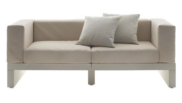 Mobilier - Canapés - Canapé droit Bellini Hour / 2 accoudoirs - L 190 cm - Serralunga - Structure blanche / Coussins crème - Polyéthylène, Tissu