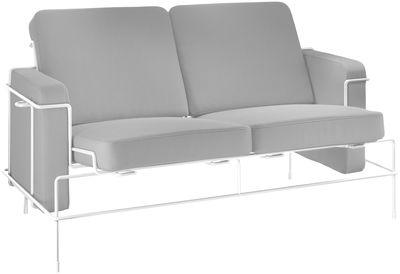 Canapé droit Traffic L 134 cm 2 places Magis blanc,gris clair en tissu