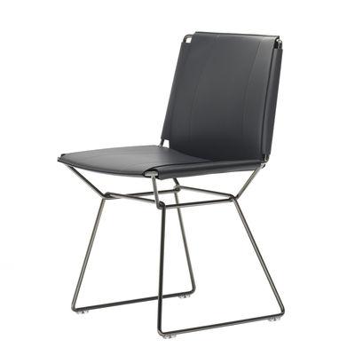 Mobilier - Chaises, fauteuils de salle à manger - Chaise Neil / Cuir sellier - MDF Italia - Noir - Acier, Cuir sellier pleine fleur