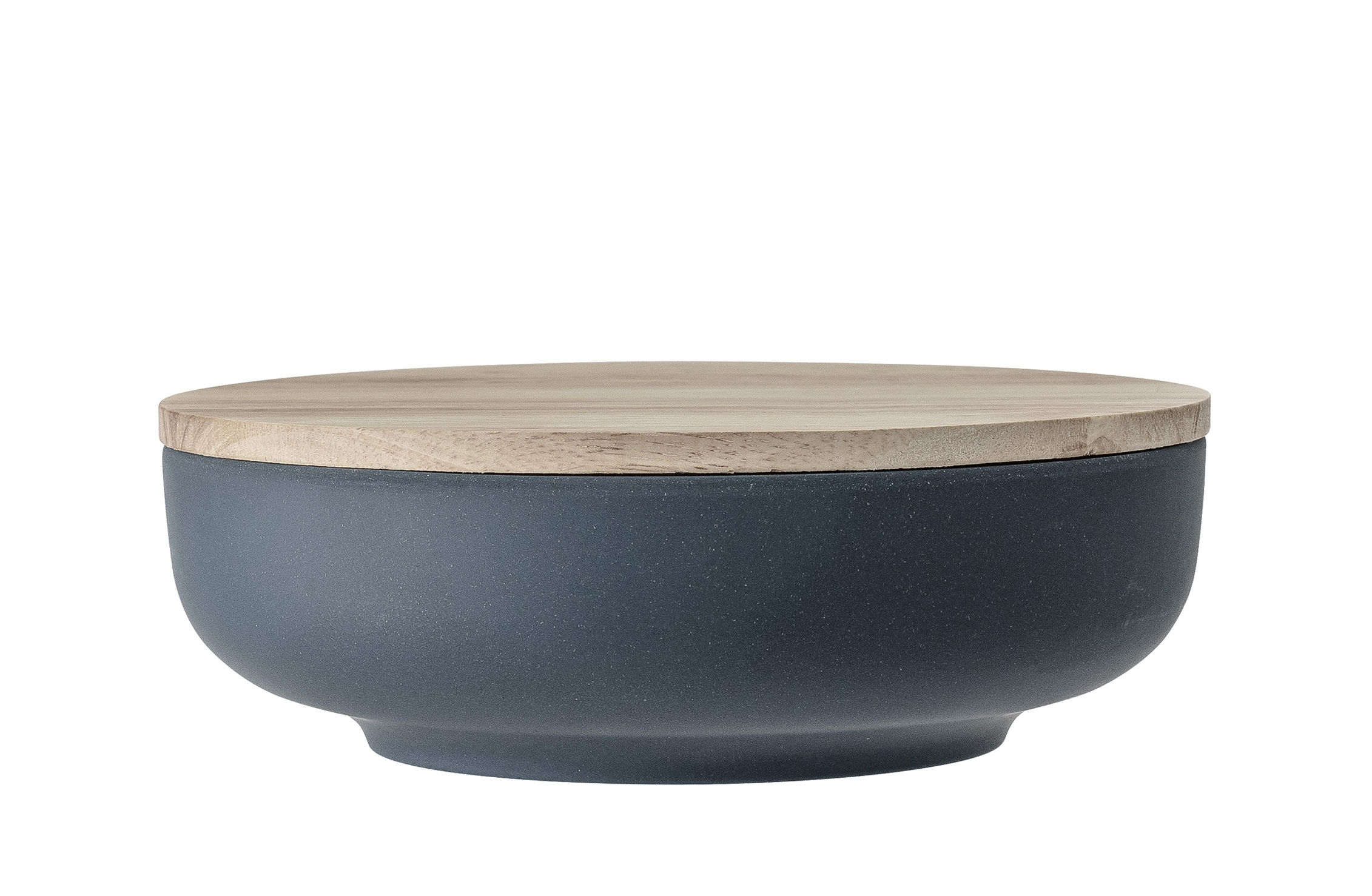 Tableware - Bowls - Java Container - / Avec couvercle - Ø 20,5 cm by Bloomingville - Blue / Wood - Bamboo fibre, Wood