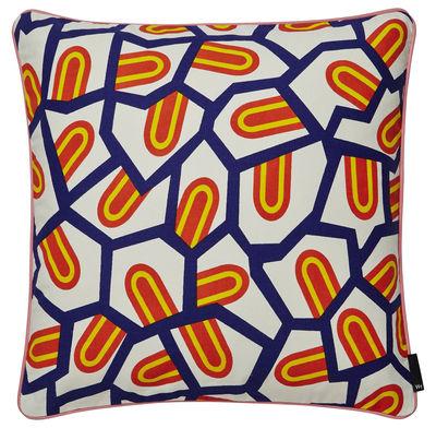 Déco - Coussins - Coussin Printed / by Nathalie du Pasquier - 50 x 50 cm - Hay - Tongues / Orange & bleu - Coton, Plumes