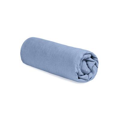 Drap-housse 180 x 200 cm / Lin lavé - Au Printemps Paris bleu ciel en tissu