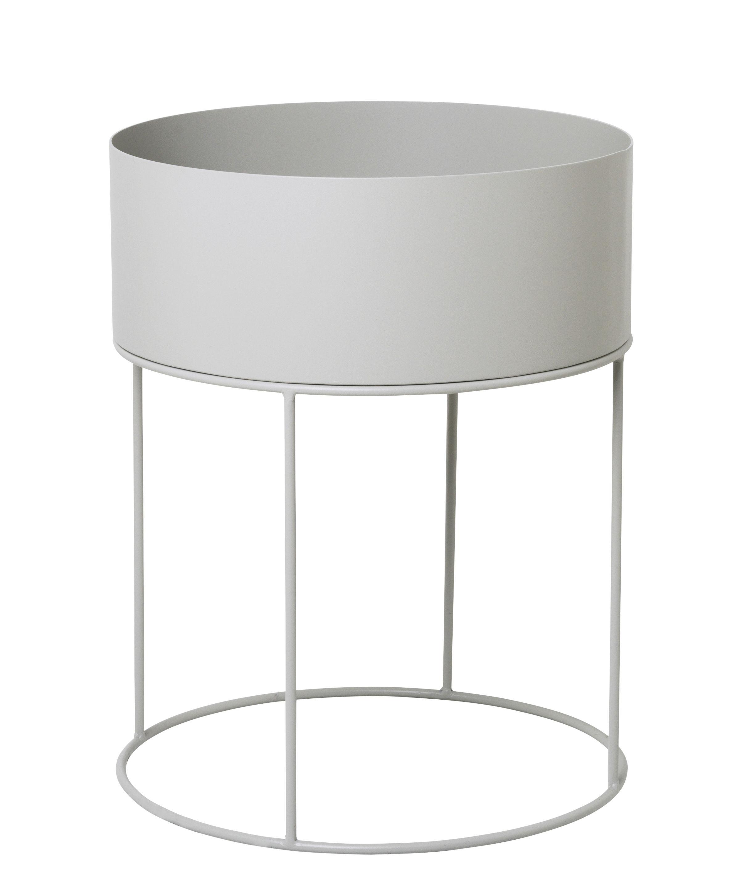 Interni - Vasi e Piante - Fioriera Plant Box Round - / Ø 40 x H 50 cm di Ferm Living - Grigio chiaro - Metallo rivestito in resina epossidica