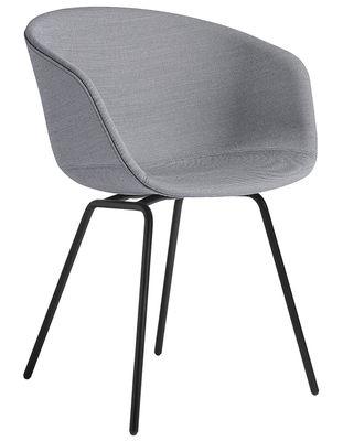 Möbel - Stühle  - About a chair AAC27 Gepolsterter Sessel / Sitzschale vollständig mit Stoff bezogen & Stuhlbeine Metall - Hay - Bezug hellgrau / Stuhlbeine Metall, schwarz - bemalter Stahl, Gewebe, Polypropylen, Schaumstoff