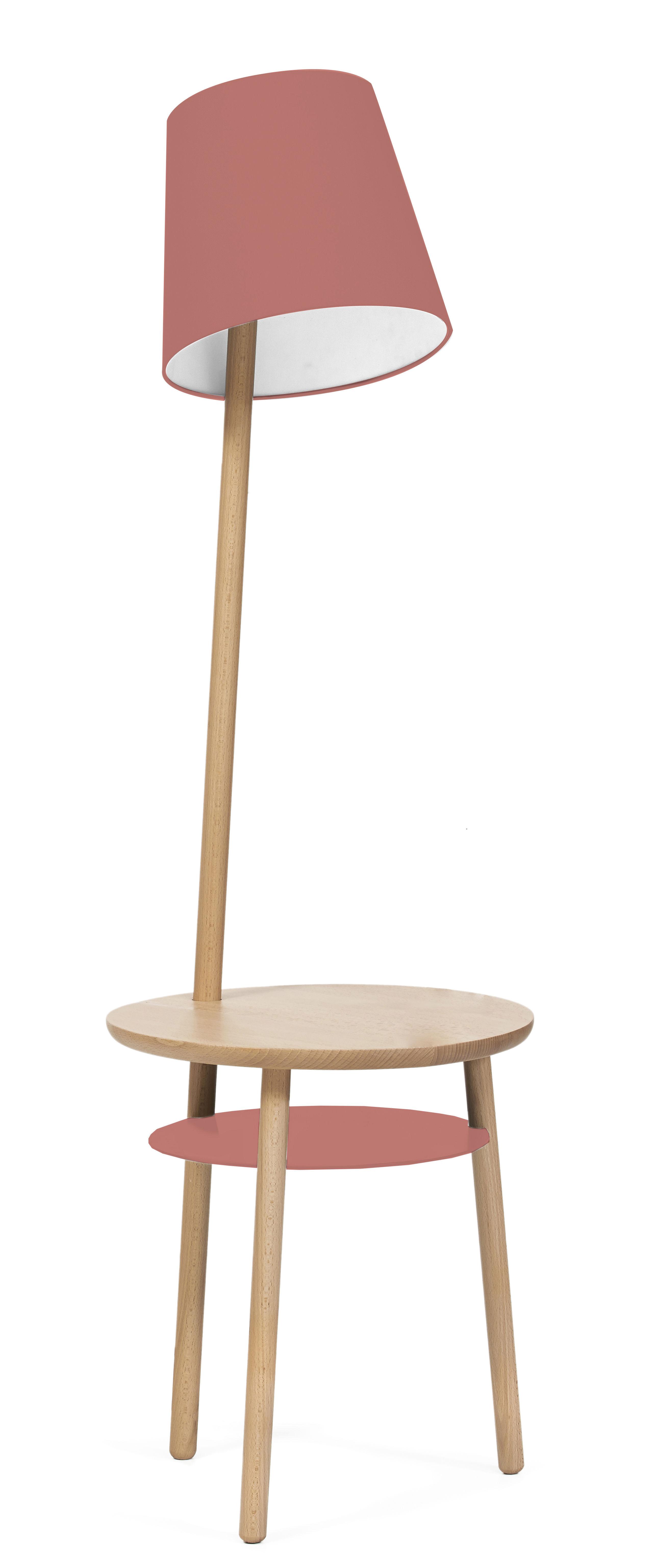 Mobilier - Tables basses - Lampadaire Josette / Table d'appoint - Ø 45 x H 52 cm - Hartô - Rose pomélo - Coton, Hêtre massif, Métal laqué