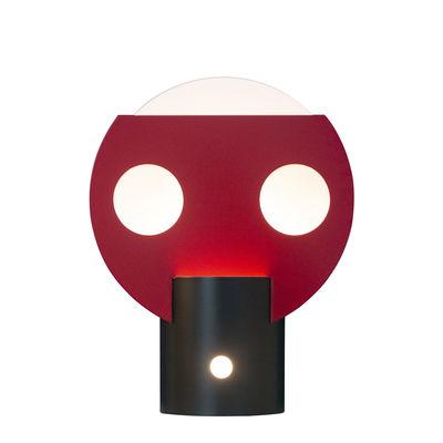 Luminaire - Lampes de table - Lampe à poser Lune / Edition limitée, signée & numérotée - 20 ans MID - Lignes de démarcation - Rose fuchsia & blanc - Aluminium verni