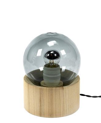 Lampe de table Full Moon / Ø 14,5 cm - Serax bois naturel,gris fumé en verre