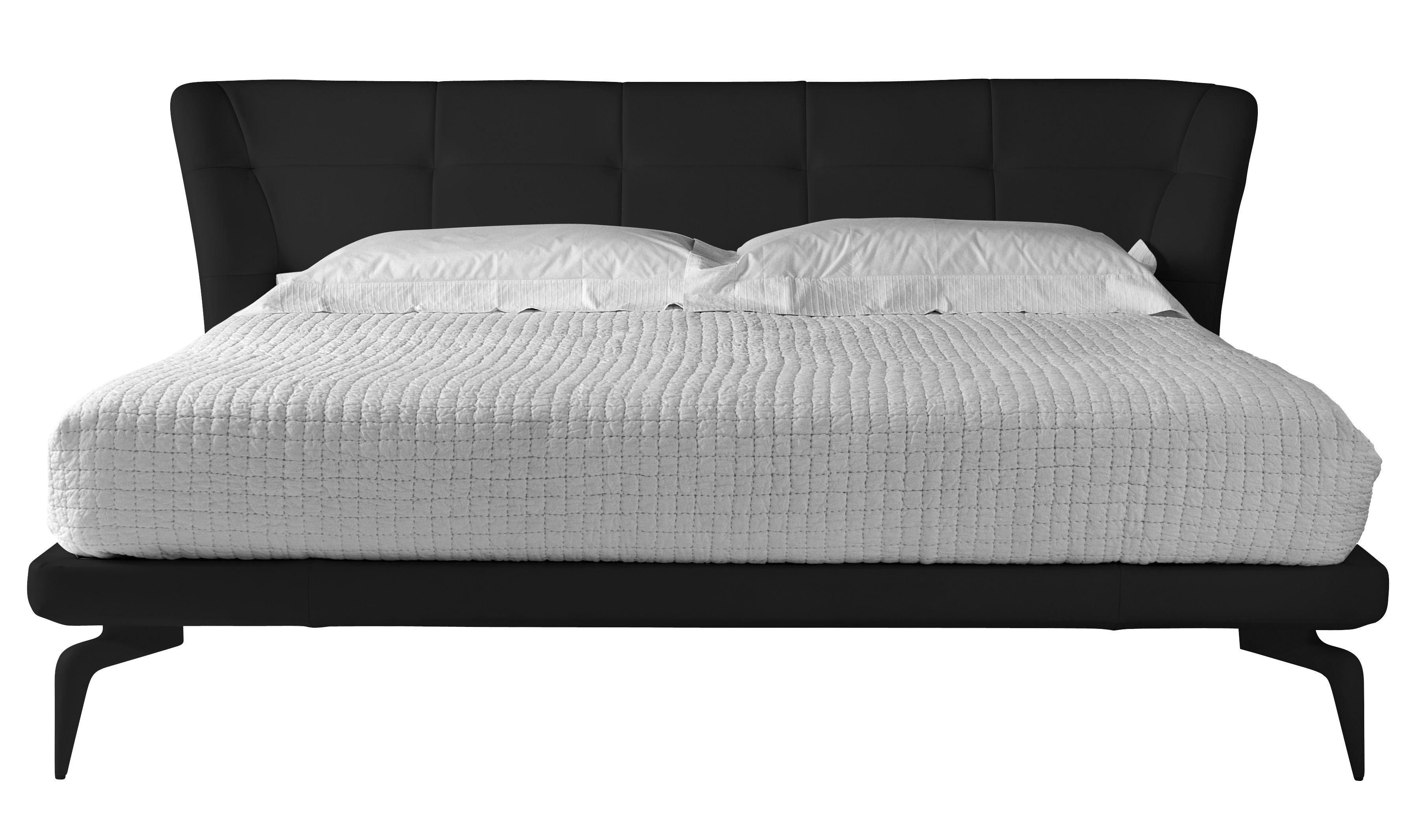 Mobilier - Lits - Lit double Leeon 221 x 222 cm - Driade - Cuir noir - Aluminium laqué, Cuir