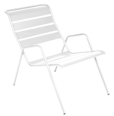 Furniture - Armchairs - Monceau Low armchair - Stackable by Fermob - Cotton white - Painted steel