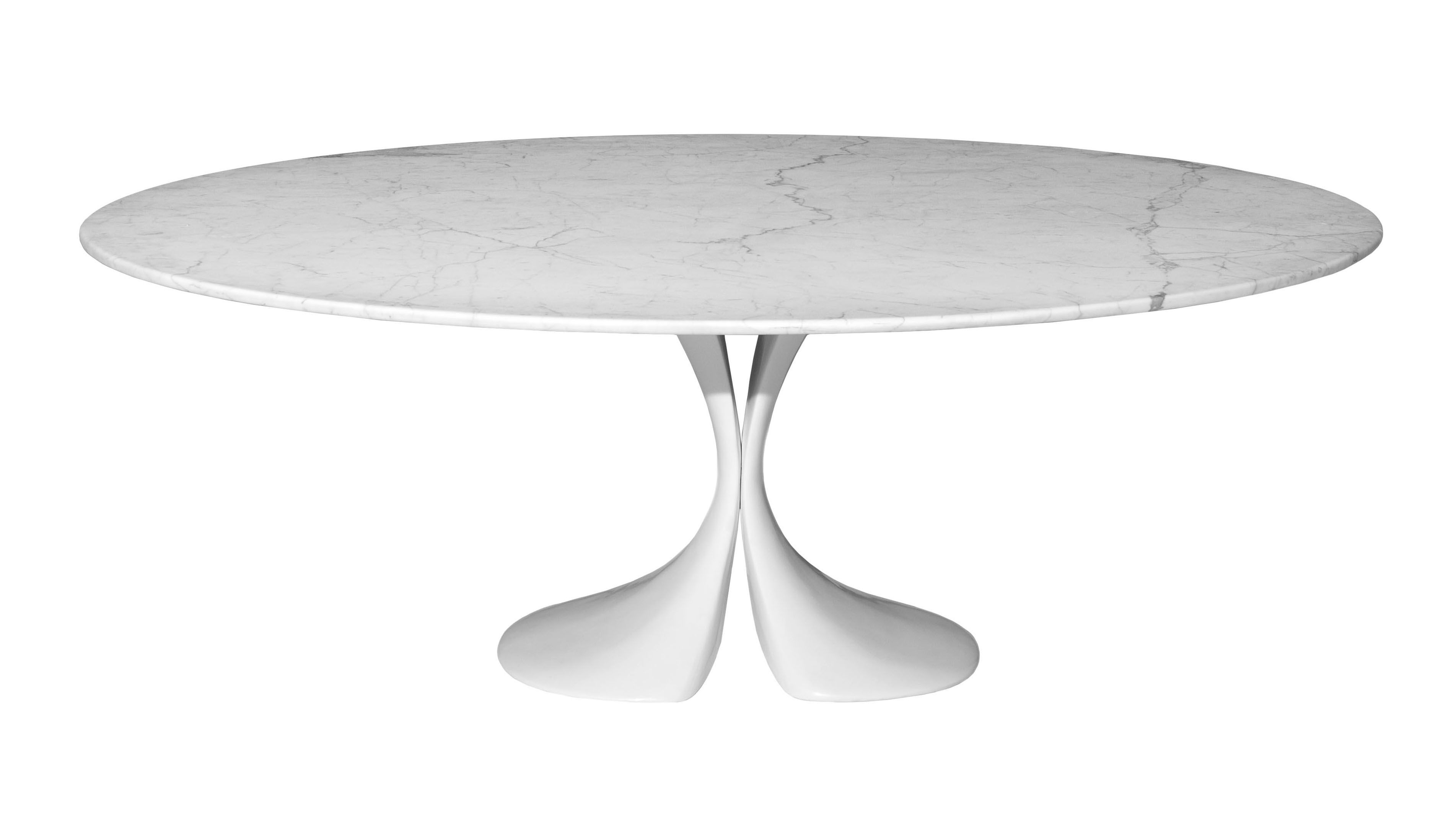 Furniture - Dining Tables - Didymos Oval table - 180 x 126 cm - Marble top by Driade - White marble top - Cristalplant, Marble