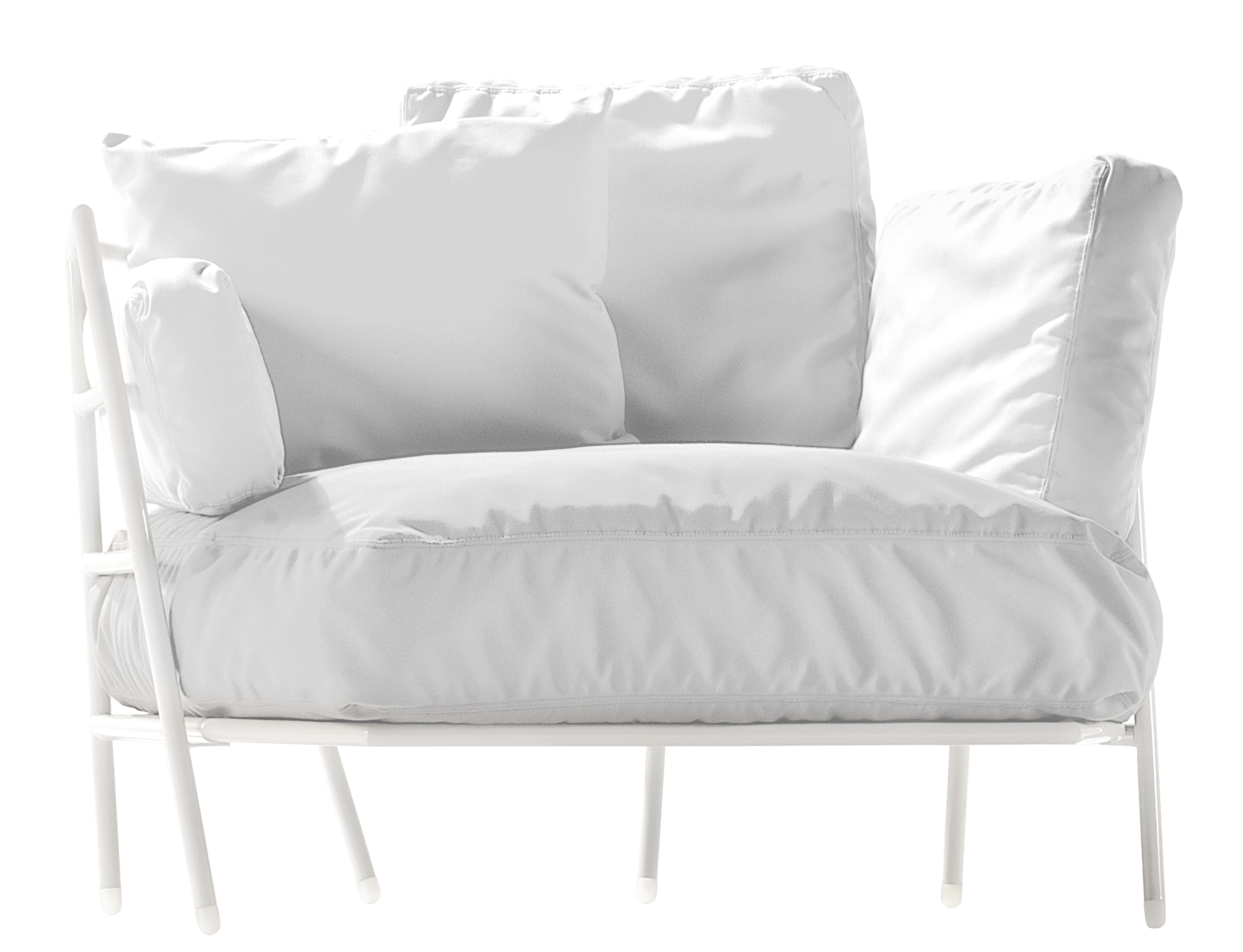 Furniture - Armchairs - Dehors Padded armchair - Outdoor by Alias - White structure / White cushions - Acrylic fabric, Lacquered steel
