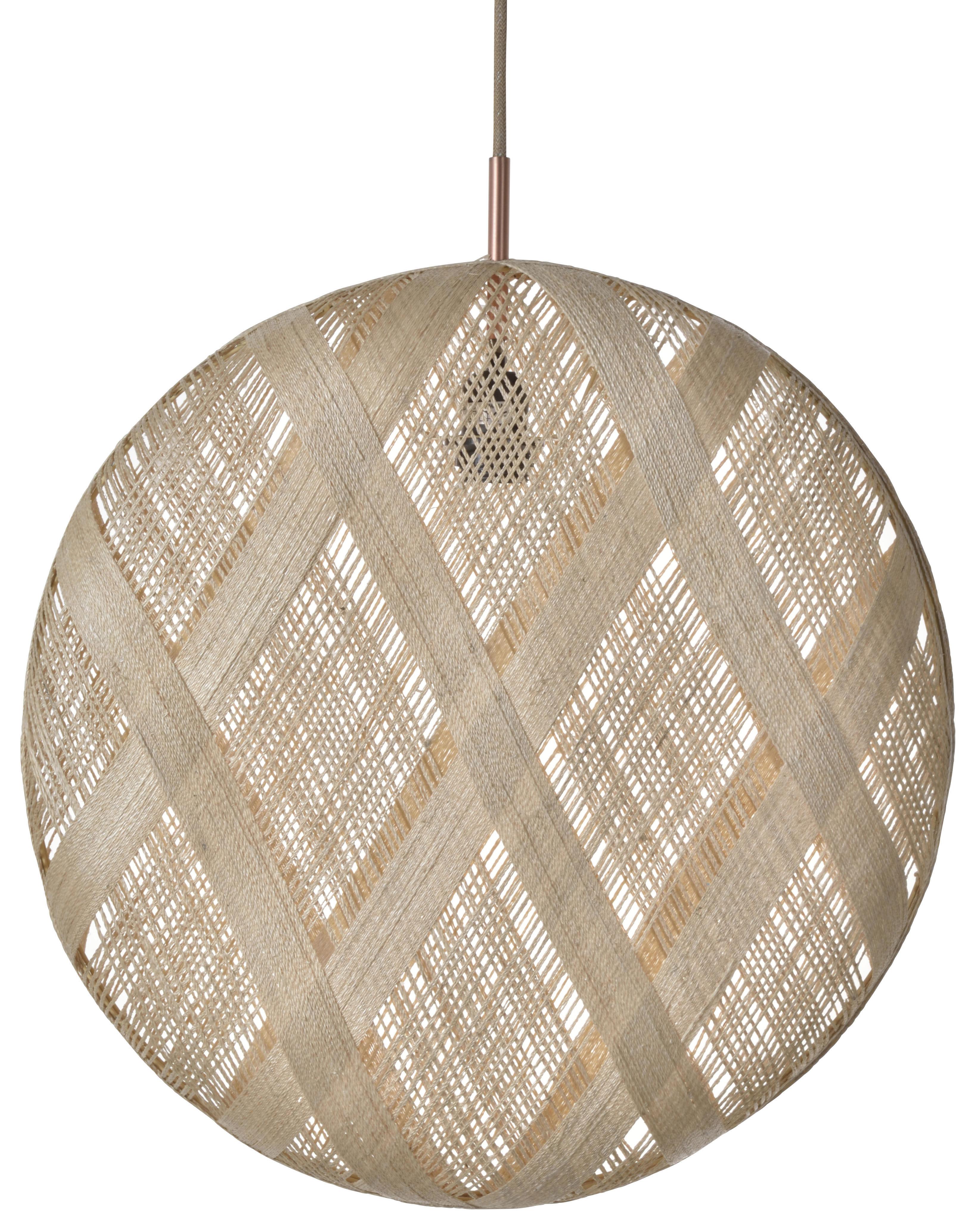 Lighting - Pendant Lighting - Chanpen Diamond Pendant - Ø 52 cm by Forestier - Natural / Diamond patterns - Woven acaba