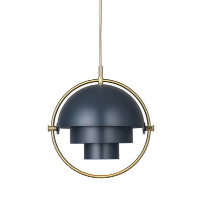 Lighting - Pendant Lighting - Multi-Lite Small Pendant - / Ø 25 cm - Modular & orientable / 1972 reissue by Gubi - Midnight blue / Brass circle - Metal