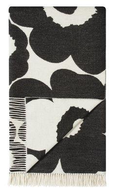 Natale Design - Tavolo & Decorazione - Plaid Unikko - / 130 x 180 cm di Marimekko - Unikko / Bianco & Nero - Cotone, Lana