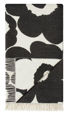 Decoration - Bedding & Bath Towels - Unikko Plaid - / 130 x 180 cm by Marimekko - Unikko / White & Black - Cotton, Wool
