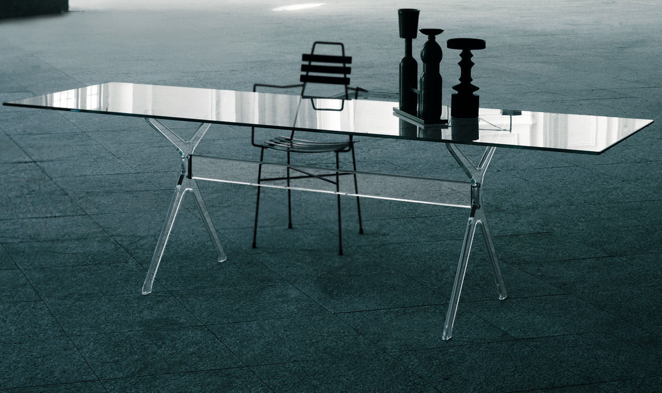 Furniture - Dining Tables - Vitruvian Rectangular table - 200 x 90 cm by Glas Italia - Transparent - Tempered glass