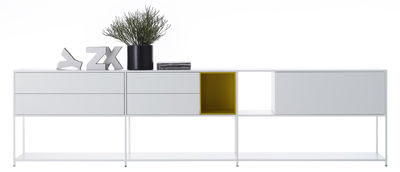 Möbel - Regale und Bücherregale - Minima 3.0 Regal / L 300 cm x H 79 cm - mit integrierten Schrankelementen - MDF Italia - Weiß / gelb - Aluminium, Fibre de bois