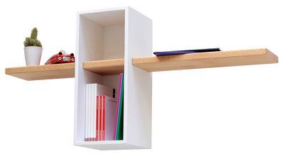 Arredamento - Scaffali e librerie - Scaffale Max - Semplice - 1 scomparto + 1 mensola di Compagnie - Bianco - Faggio massello, MDF tinto