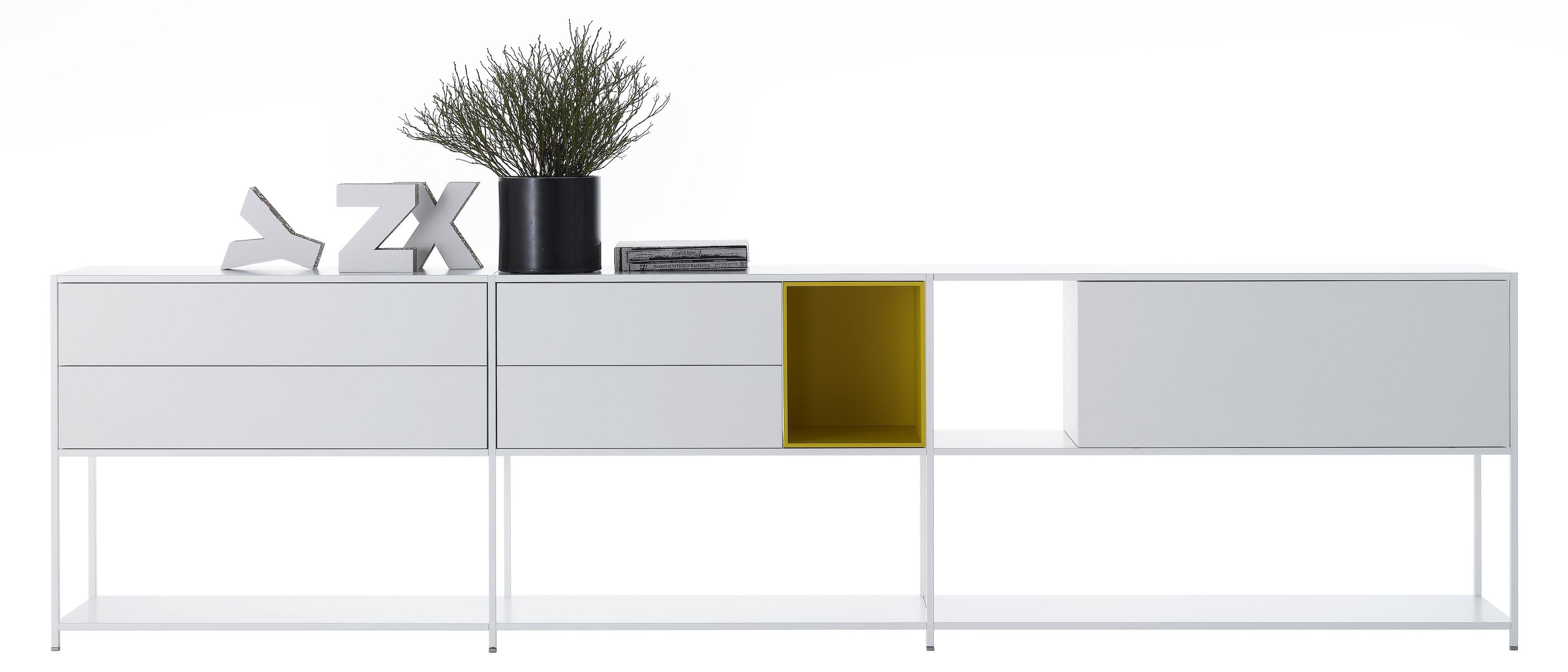 Furniture - Bookcases & Bookshelves - Minima 3.0 Shelf - / W 300 x H 79 cm - Integrated boxes by MDF Italia - White / Yellow - Aluminium, Wood fibre