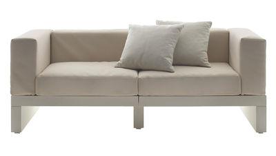 Möbel - Sofas - Bellini Hour Sofa 2 Armlehnen - Serralunga - Gestell elfenbeinfarben / Kissen cremefarben - Gewebe, Polyäthylen