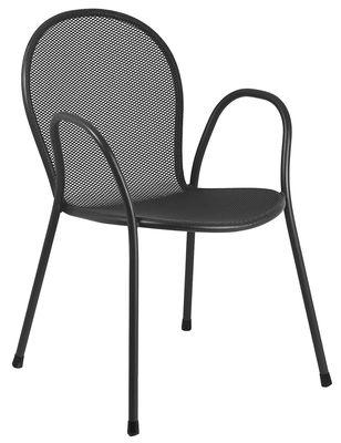 Möbel - Stühle  - Ronda Stapelbarer Sessel / Metall - Emu - Schwarz - gefirnister Stahl