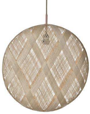 Luminaire - Suspensions - Suspension Chanpen Diamond / Ø 52 cm - Forestier - Beige / Motifs losanges - Abaca tissé