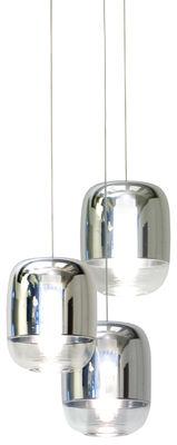 Suspension Gong Mini LED / Ø 13 x H 16 cm - Set de 3 - Prandina argent,transparent en verre