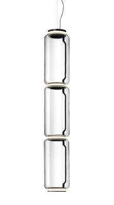 Luminaire - Suspensions - Suspension Noctambule Cylindre / LED - Ø 25 x H 139 cm - Flos - Transparent - Acier, Fonte d'aluminium, Verre soufflé