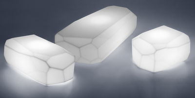 Table basse lumineuse Meteor Light Medium / 87 x 52 cm - Serralunga blanc en matière plastique