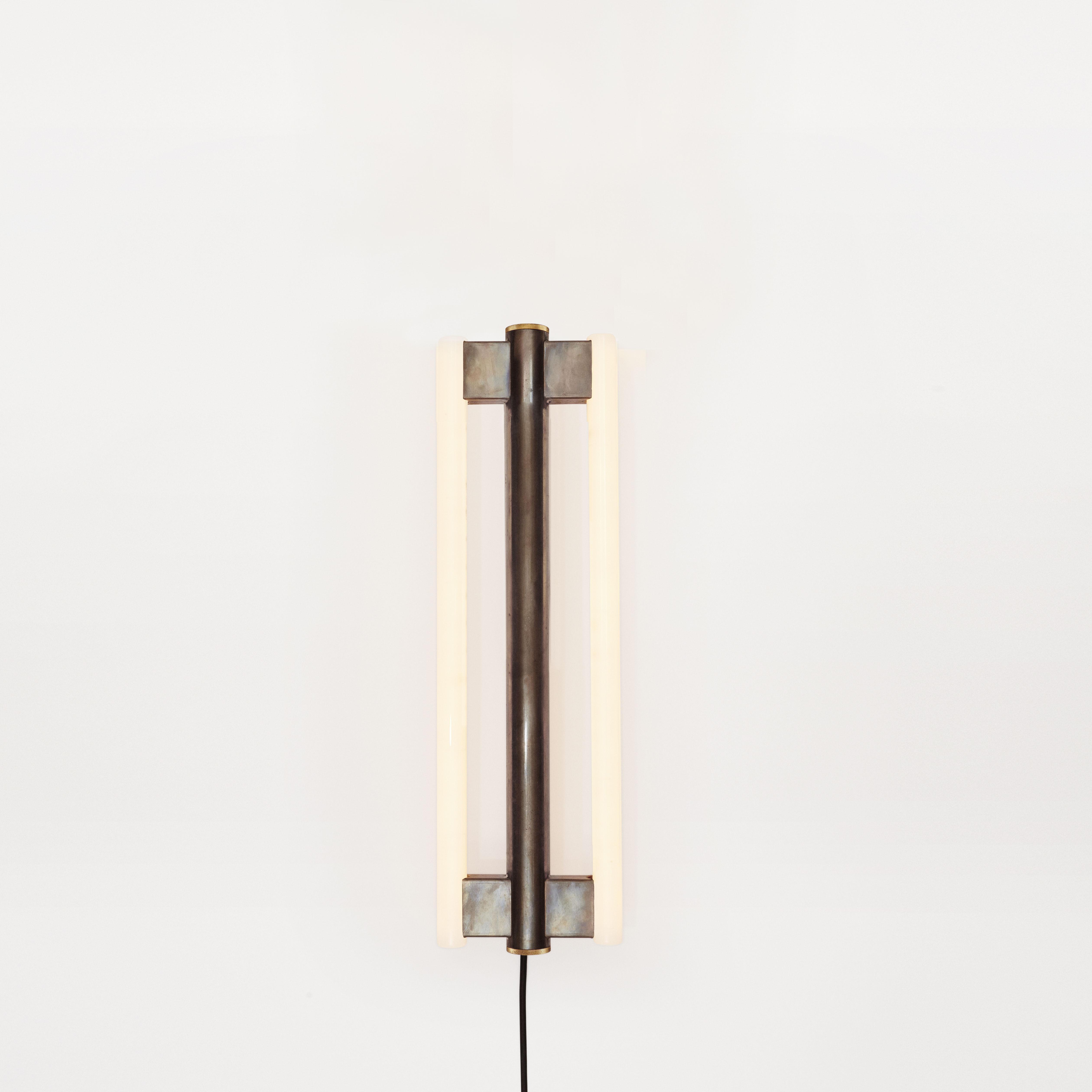 Lighting - Wall Lights - Eiffel Wall light with plug - / H 50 cm by Frama  - h 50 cm / Antique steel - Acier brut ciré, Opal Glass