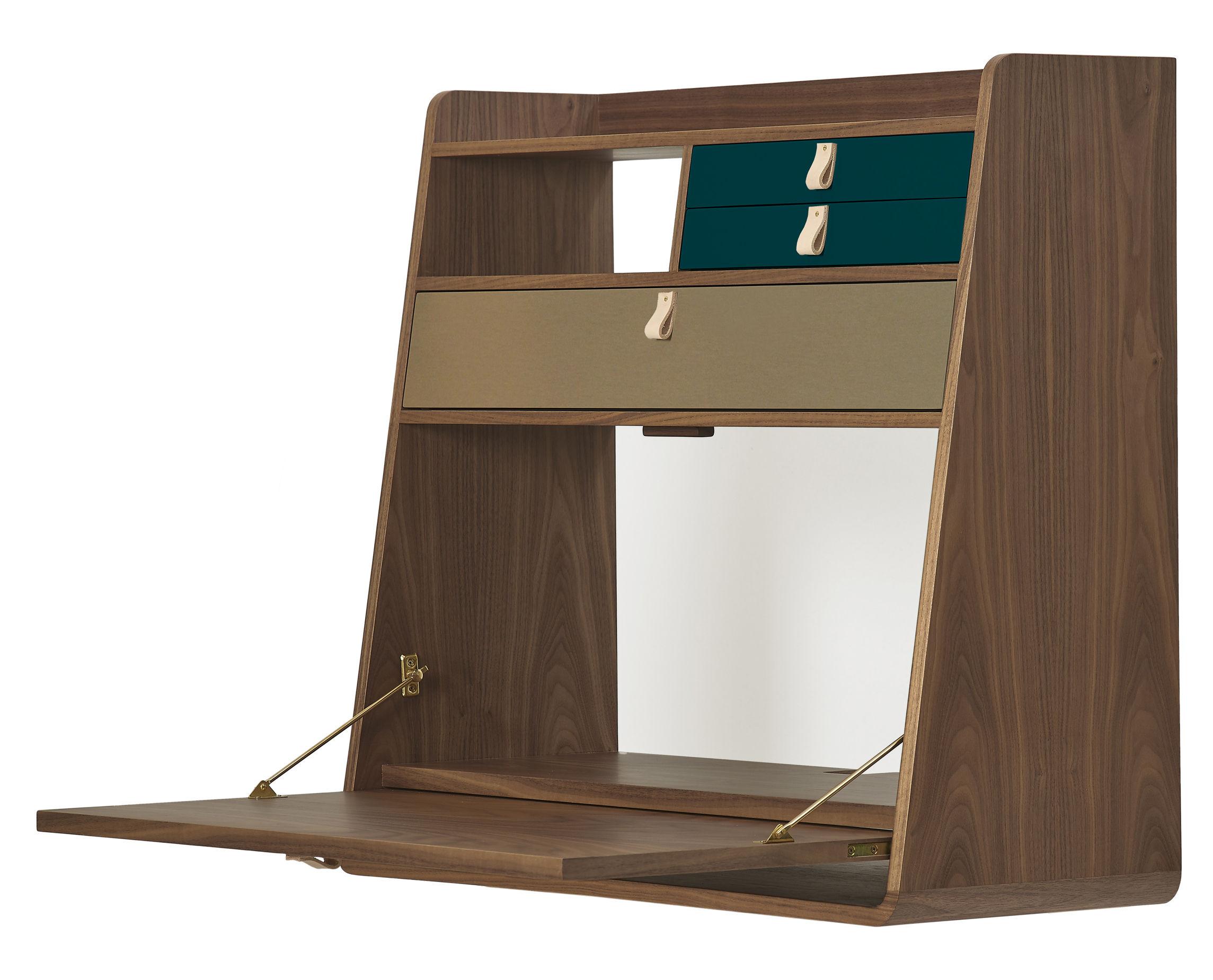 Furniture - Office Furniture - Gaston Wall writing desk - / L 80 x H 72 cm by Hartô - Brass & Petrol blue / Walnut - Walnut plated MDF