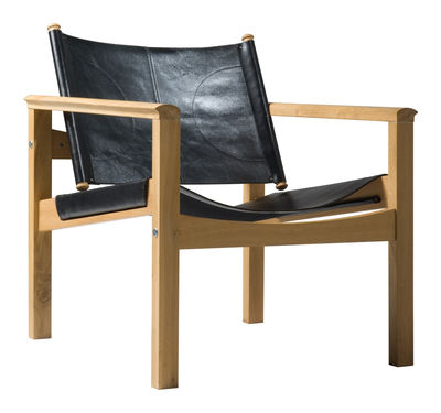 Furniture - Armchairs - Peglev Armchair - Armchair by Objekto - Oiled oak structure / Black leather seat - Leather, Oak