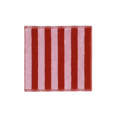 Image of Asciugamano Kaksi Raitaa - / 30 x 30 cm di Marimekko - Rosa,Rosso - Tessuto